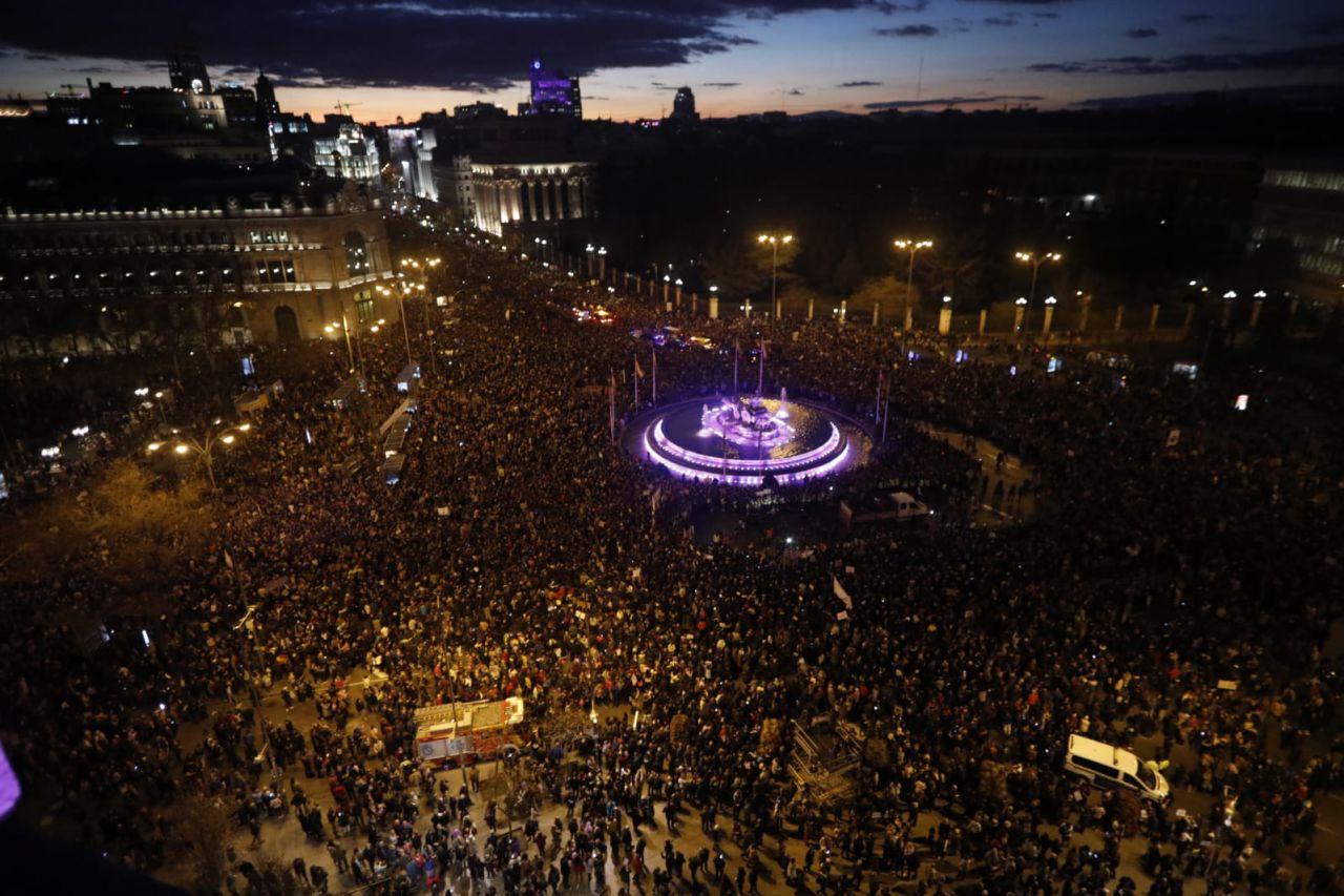 Cibeles, repleta ante la manifestación del 8-M.