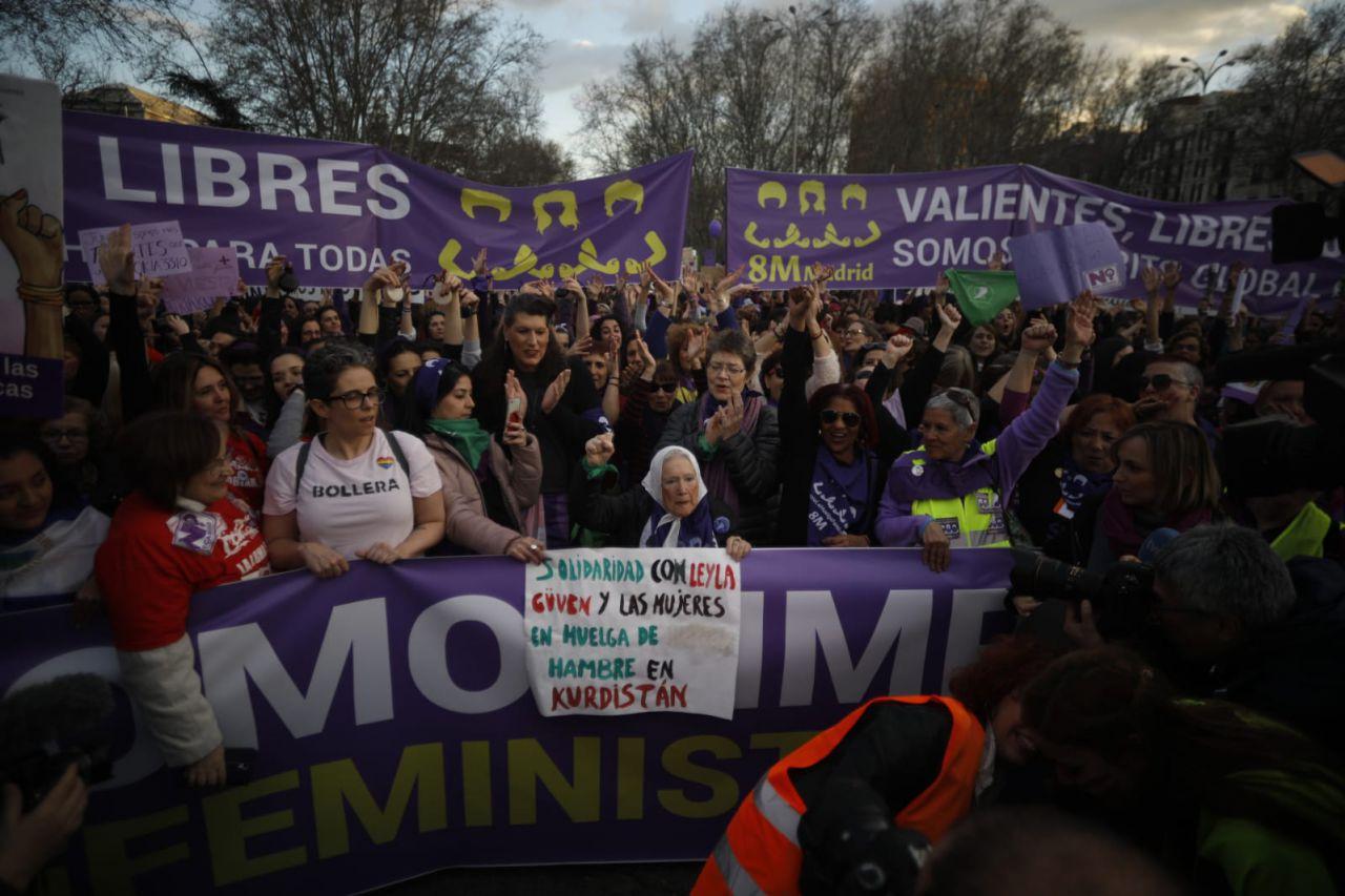 Manifestación feminista en Madrid en conmemoración del Día Internacional de la Mujer.