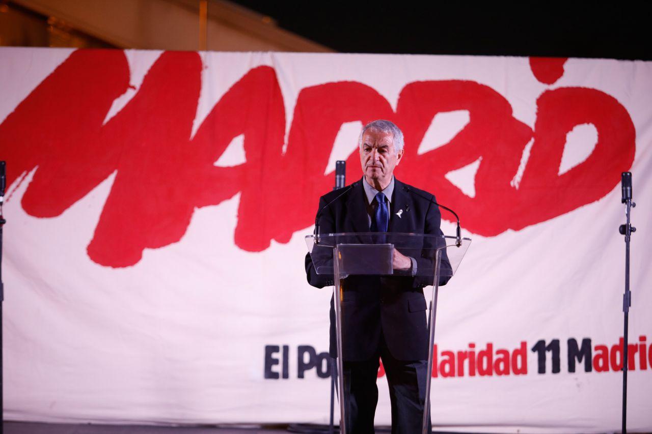 Eulogio Paz Fernández, presidente de la Asociación 11-M Afectados del Terrorismo, en el acto en homenaje a las víctimas de los atentados del 11M en la estación de El Pozo en Vallecas.