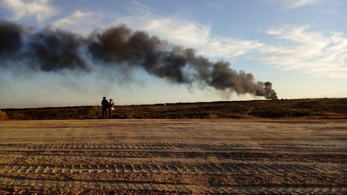 El incendio de Alcorcón, visto desde los Retamares de Pozuelo.