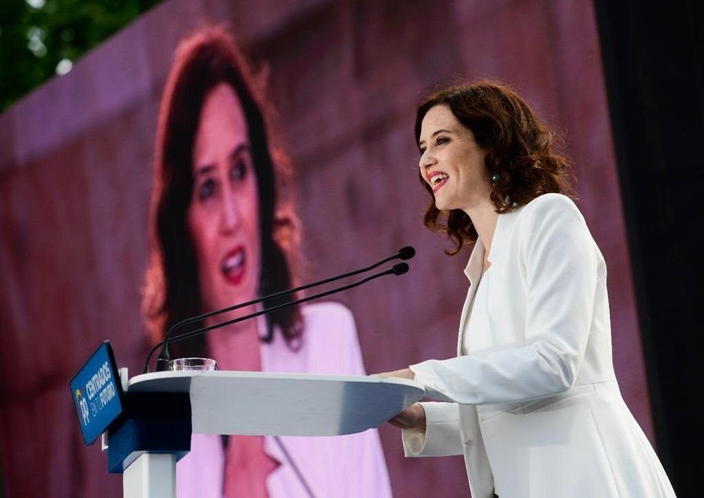 La candidata a la presidencia regional, Isabel Díaz Ayuso, durante su intervención en el acto.