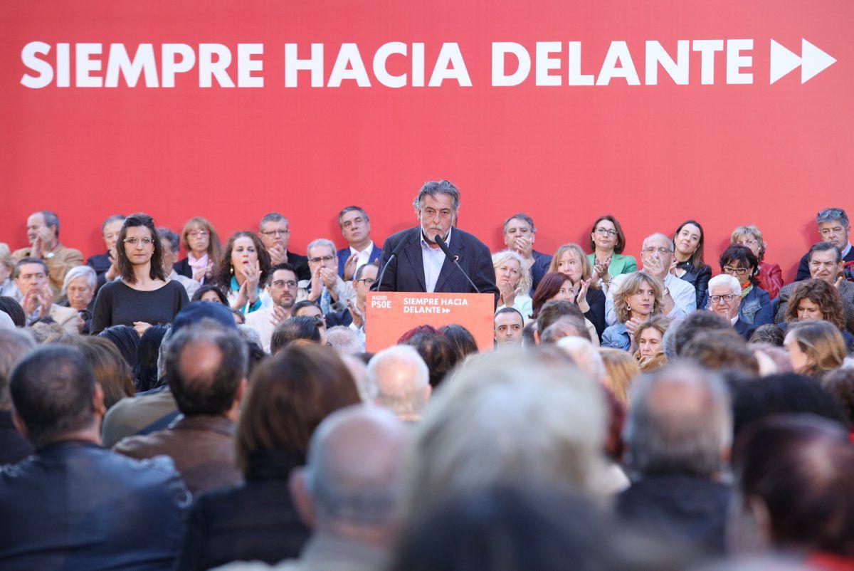 Pepu Hernández, en el acto de Vicálvaro.