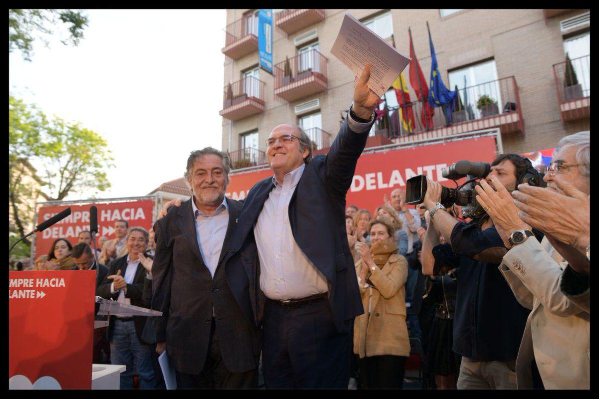 Los candidatos socialistas al Ayuntamiento y la Comunidad, Pepu Hernández y Ángel Gabilondo.