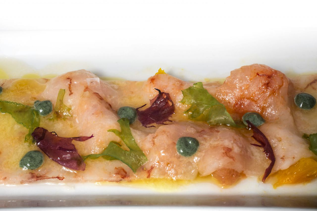 El chef querido plasmar esa fascinación del artista por el Mediterráneo con un Carpaccio de gamba blanca con algas y cítricos de Valencia.