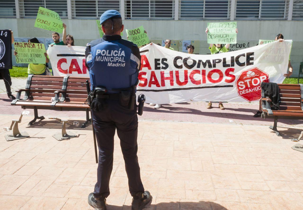 La Policía Municipal ha velado por el orden en el acto de Más Madrid.