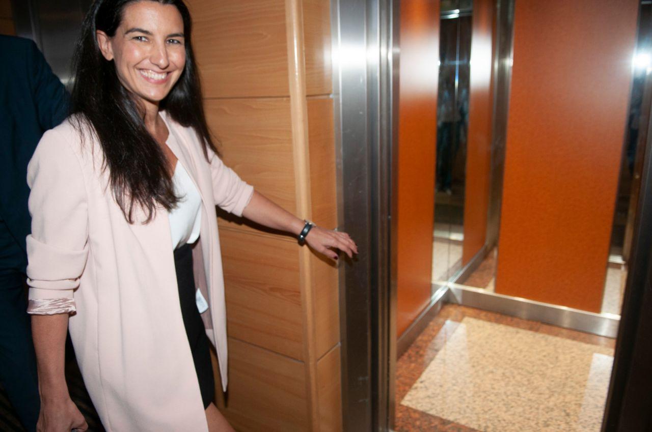 Rocío Monasterio, candidata de Vox, a su llegada a la Asamblea.