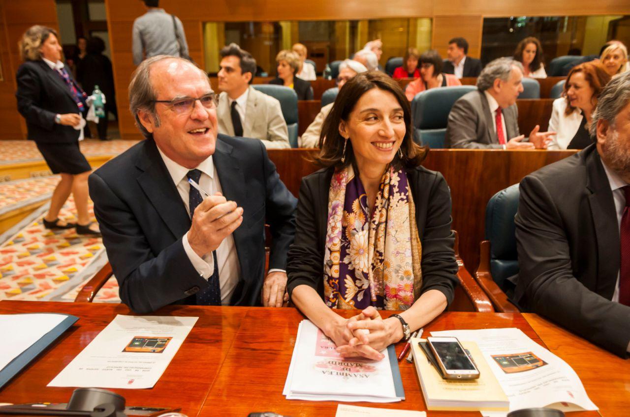 Ángel Gabilondo, sentado junto a su 'número dos', Pilar Llop, que se postulaba a la Presidencia de la Cámara.