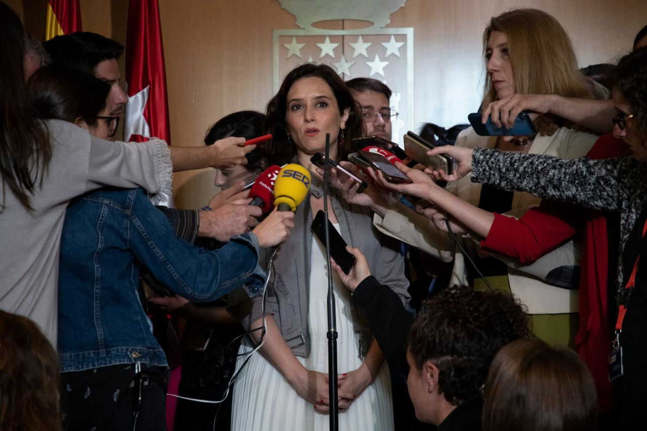 Isabel Díaz Ayuso, a la salida del pleno de constitución de la Asamblea de Madrid.