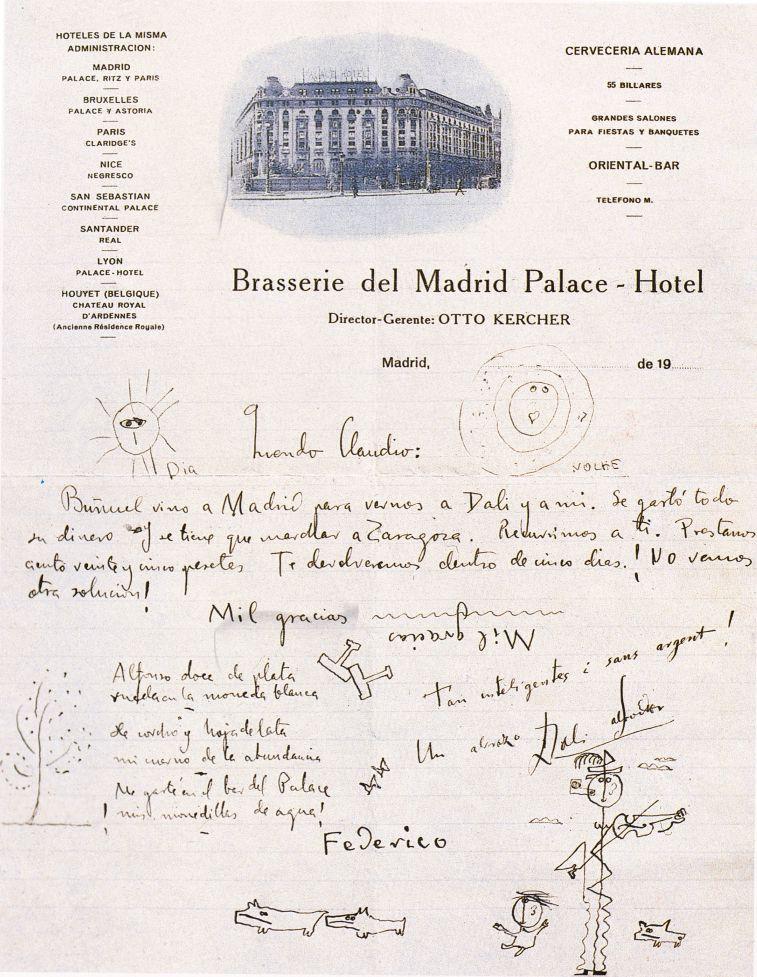 Una carta de la Brasserie del Hotel firmada por Federico García Lorca, Salvador Dalí y Luis Buñuel