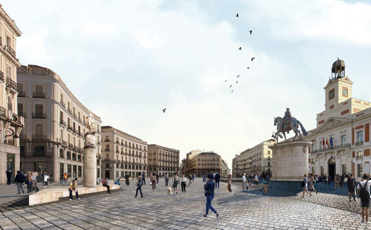 Recreación de la reforma de la Puerta del Sol del proyecto Piensa Sol.