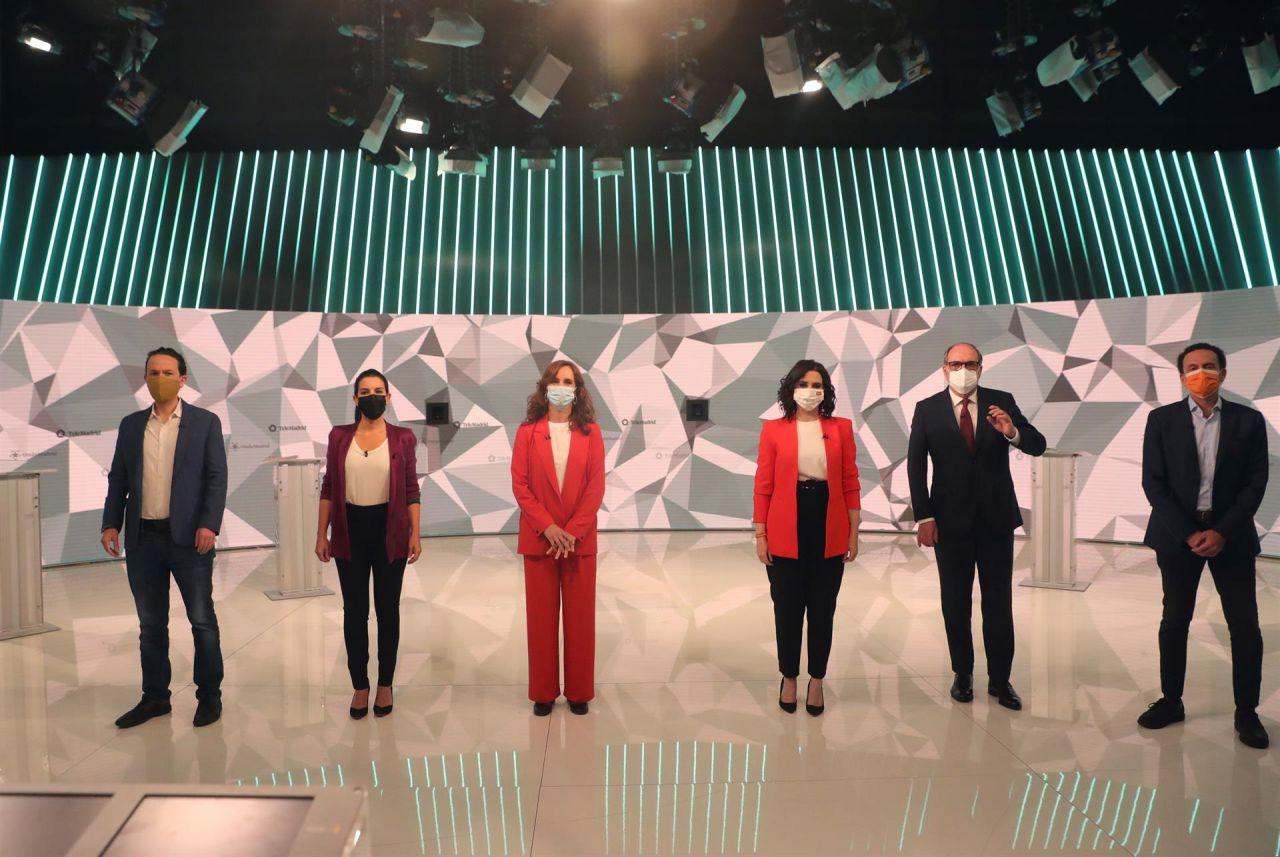 Los seis candidatos, antes del comienzo del debate en Telemadrid