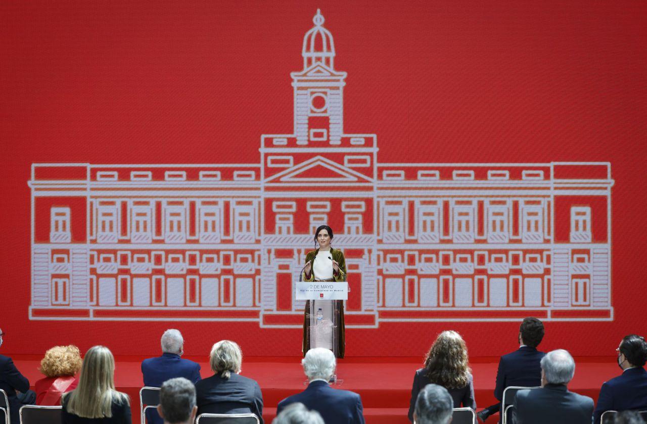 Isabel Díaz Ayuso, presidenta de la Comunidad de Madrid, durante el acto de celebración del Día de la Comunidad de Madrid