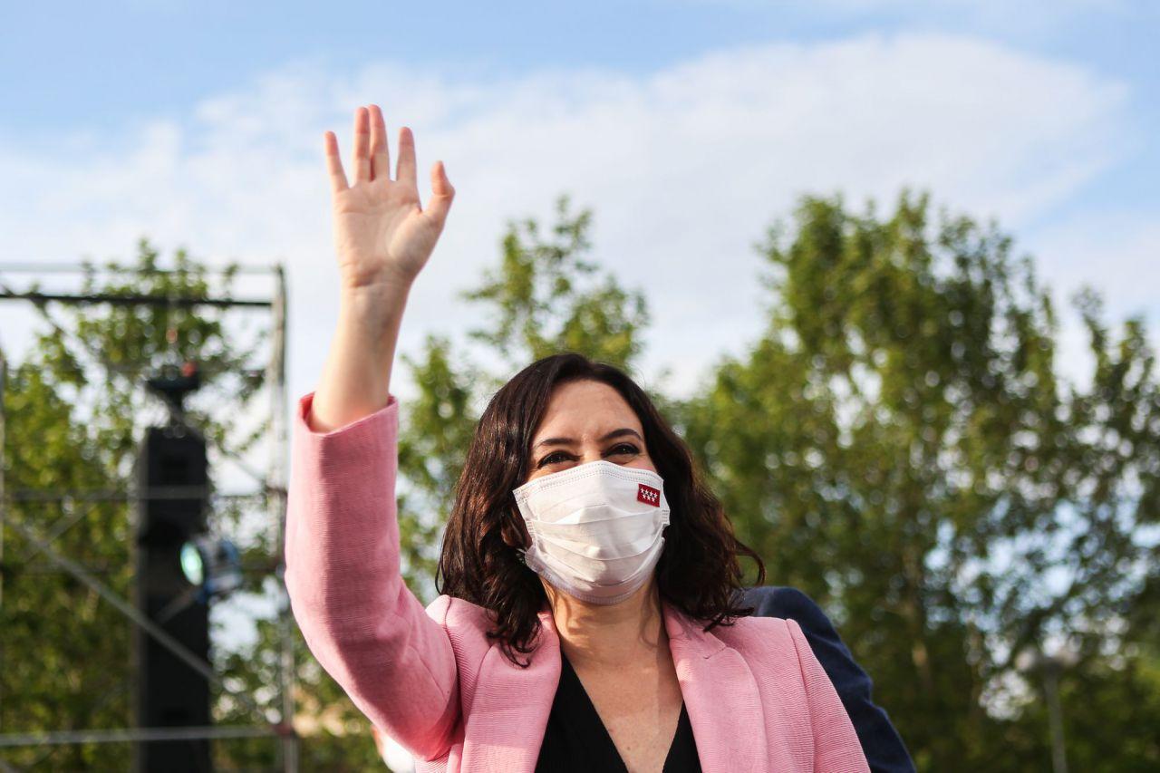 Isabel Díaz Ayuso, candidata del Partido Popular a la presidencia de la Comunidad de Madrid, en el acto de cierre de campaña