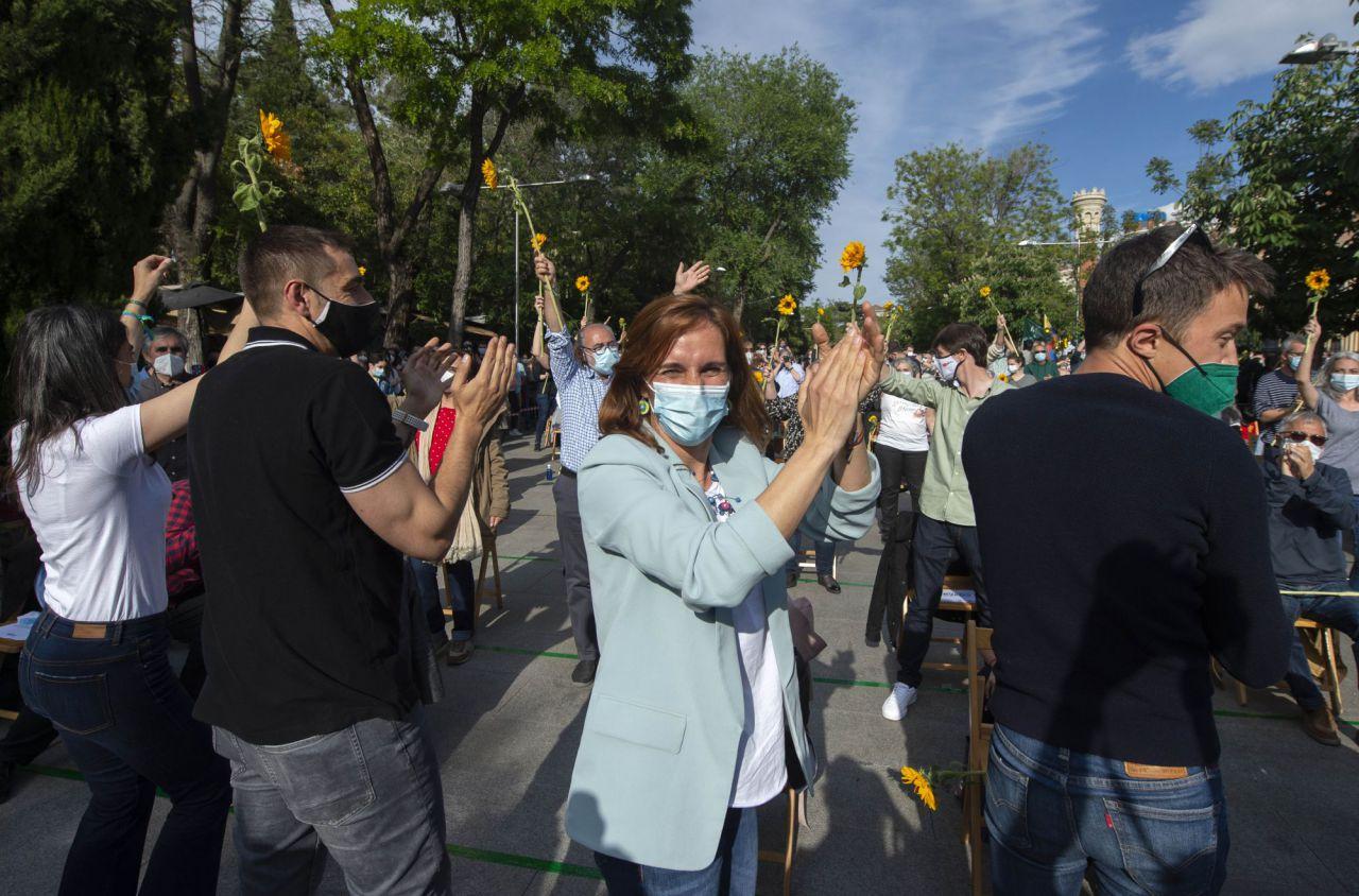 Mónica García, candidata de Más Madrid a la presidencia de la Comunidad de Madrid, en el acto de cierre de campaña