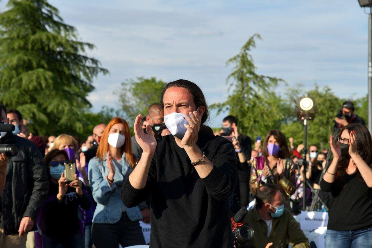 Pablo Iglesias, candidatos de Unidas Podemos a la presidencia de la Comunidad de Madrid, durante el acto de cierre de campaña en Vicálvaro