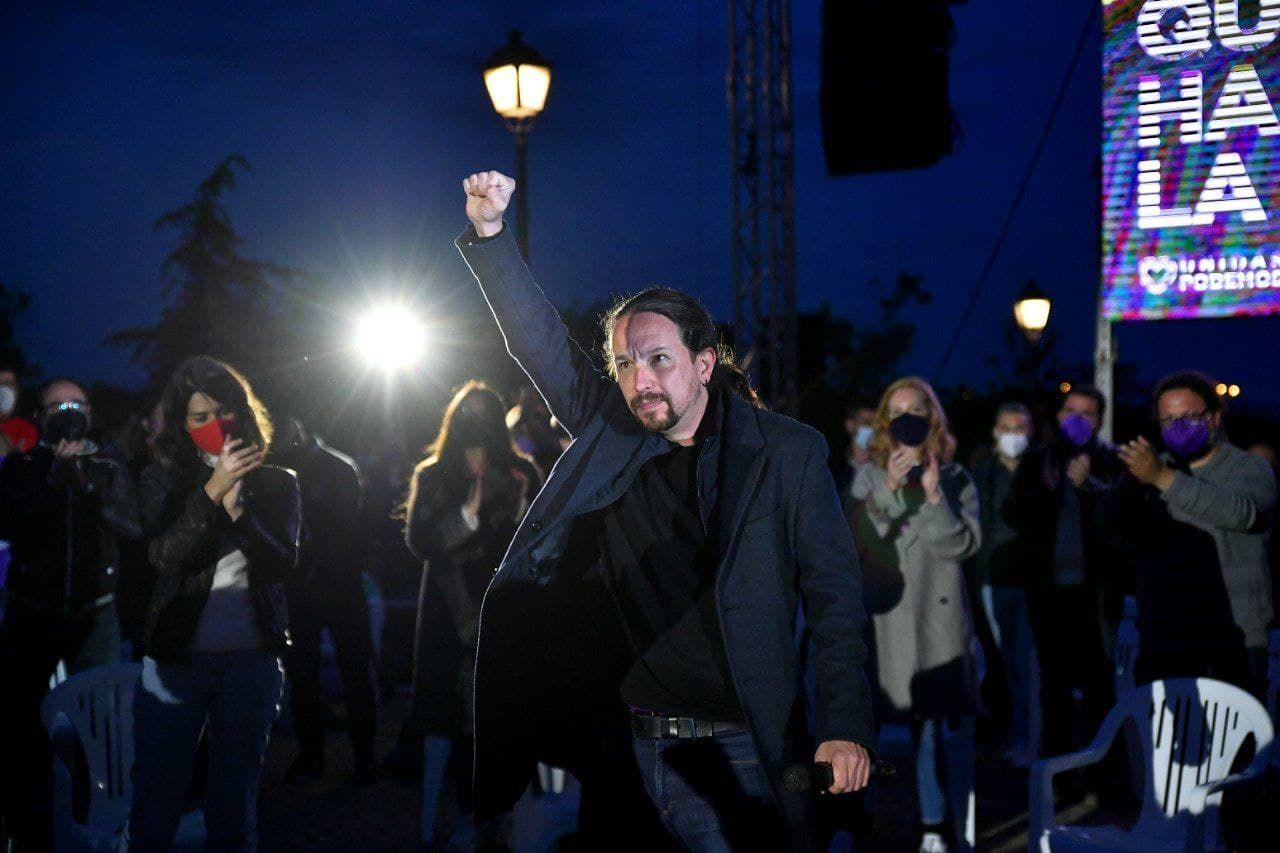 Pablo Iglesias, candidato de Unidas Podemos a la presidencia de la Comunidad de Madrid, durante el acto de cierre de campaña