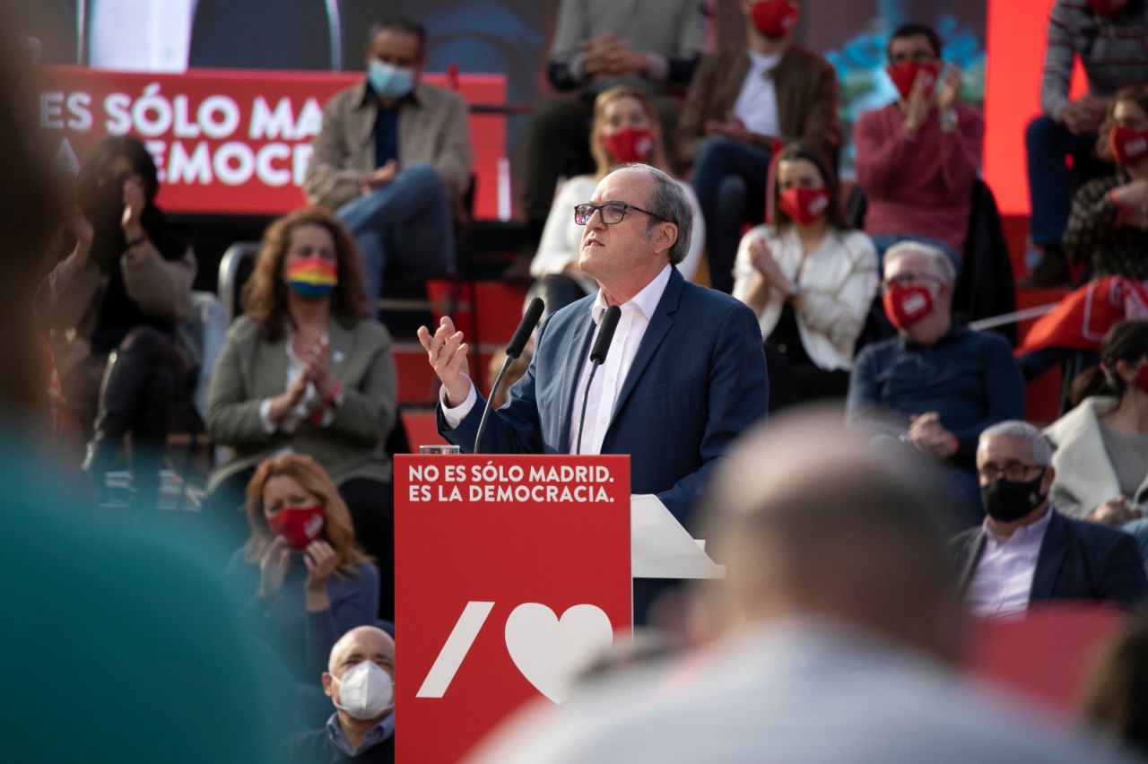 Ángel Gabilondo, candidato del PSOE a la presidencia de la Comunidad de Madrid, durante el acto de cierre de campaña