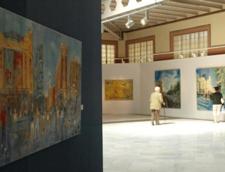 """El pintor Javier Ballester """"Montesol"""" exhibe en la Casa de Vacas del Retiro obras en óleo sobre tela de las vistas de Madrid y algunos episodios taurinos, todas ellas en grandes formatos. Vea más imágenes."""