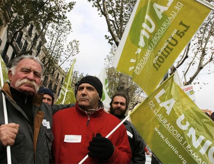 """Cientos de agricultores y ganaderos de todas las regiones de España se manifestaron este viernes en el centro de Madrid para protestar por la """"profunda crisis"""" que sufre el sector."""