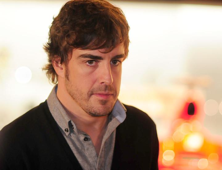 Fernando Alonso, durante la presentación de la exposición