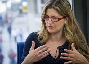 Entrevista Raquel López, candidata de IU a la alcadía de Madrid, en la Terraza de Gran Vía.