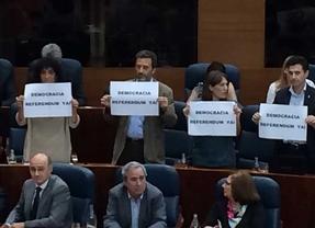 Los diputados de IU muestran carteles a favor de un referéndum sobre la monarquía en la Asamblea.