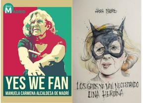 Carteles e ilustraciones de apoyo a Manuela Carmena. A la derecha, ilustración de Javi Txuela.