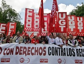 Los sindicatos claman contra el gobierno de Aguirre y llaman al voto de izquierda para el 22-M