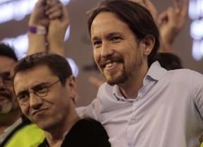 Juan Carlos Monedero y Pablo Iglesias, en la asamblea de Podemos