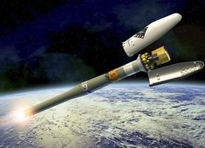 Ilustración del Soyuz llevando a Gaia hasta su órbita, cuando se desprende de su cubierta aerodinámica