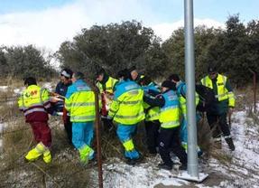 Un motorista resulta herido muy grave al salirse de la vía en Guadarrama
