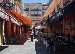 Terrazas de bares en calles del centro de Madrid
