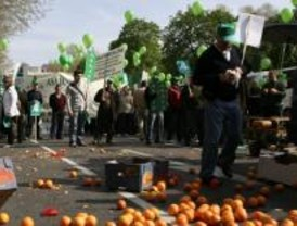 Los agricultores protestan repartiendo 1.500 kilos de hortalizas