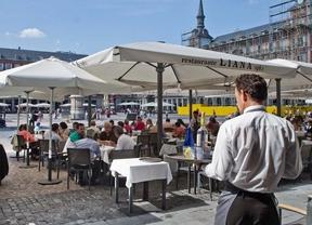 Una terraza en la Plaza Mayor