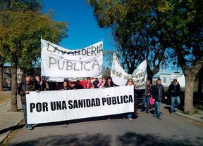 Protesta por Mejorada de los trabajadores de la lavandería