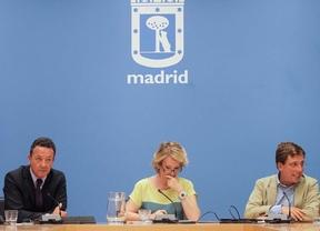 Esperanza Aguirre interviene en la rueda de prensa posterior a la reunión del grupo municipal del PP.