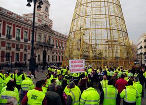 protesta trabajadores alumbrado y semaforos en Sol