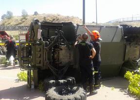 Aparatoso accidente en Montecarmelo con un vehículo militar