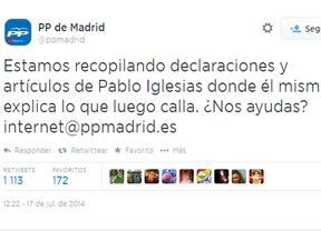 El PP pide ayuda para recopilar declaraciones contra Pablo Iglesias