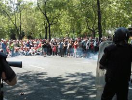 Cargas policiales en la manifestación de mineros