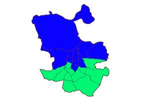 Mapa del resultado electoral de los distritos 2015.