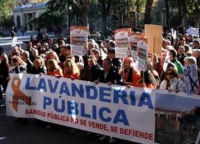 Protesta contra la privatización de la lavandería. (Marea 'tricolor'. Madrid, 15 de diciembre de 2013)