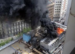 Un incendio causa la alarma en la calle Princesa