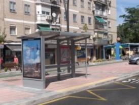 Paradas de bus con paneles electrónicos en Getafe