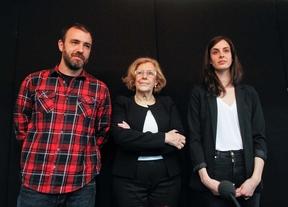Nacho Murgui, Manuela Carmena y Rita Maestre en la presentación de la candidatura Más Madrid  para las primarias de Ahora Madrid.