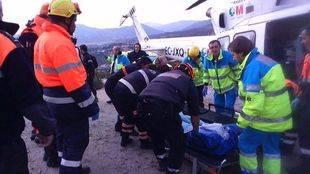 Rescatan en helicóptero a un ciclista tras caerse en un camino forestal en Valdemanco
