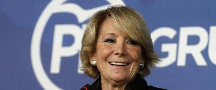 Esperanza Aguirre en la sede de Génova
