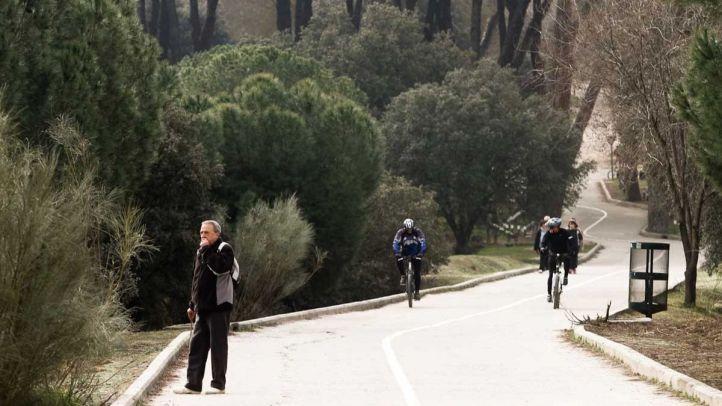 Paseantes y ciclistas en la Casa de Campo.