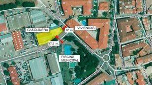 Plano de la zona donde se quiere construir una gasolinera en Velilla.