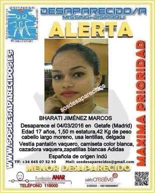 Bharati Jiménez Marcos, desaparecida en Getafe